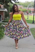 tan GoJane heels - navy thrifted skirt - yellow Forever21 top