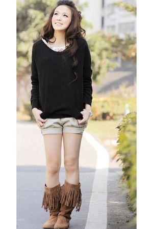 black boyfriends closet sweater - beige Urban Outfitters shorts - brown Rampage