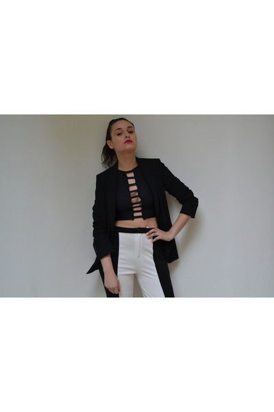 Leather NFeathers top - Zara blazer - Leather NFeathers pants - swarovski ring