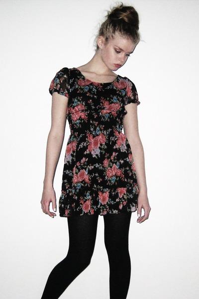 Floral Roses Dress Floral Print Dress Black