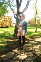floral print dress - denim H&M jacket - black tights - bown skinny H&M belt - bl