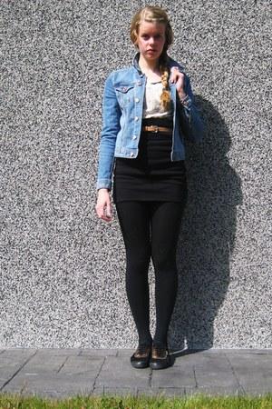 Kawasaki shoes - denim H&M jacket - lace sweater - black tights - black pensil h
