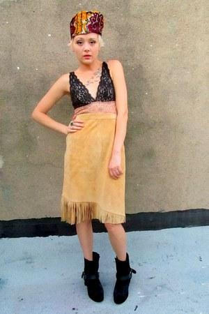 camel suede some velvet vintage skirt