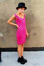 Hot-pink-polka-dot-some-velvet-vintage-dress