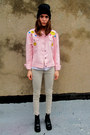Light-pink-happy-face-some-velvet-vintage-jacket