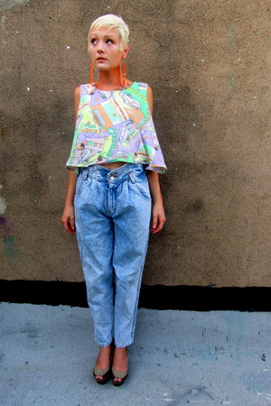 crop top some velvet vintage shirt - acid wash some velvet vintage jeans