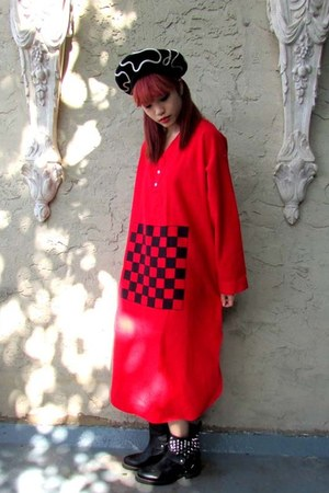 red checkerboard some velvet dress