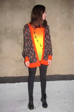 carrot orange bike print some velvet vintage shirt