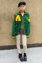forest green varsity some velvet vintage jacket