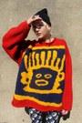 Red-knitted-some-velvet-vintage-sweater