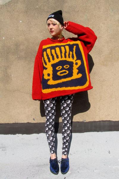 red knitted some velvet vintage sweater