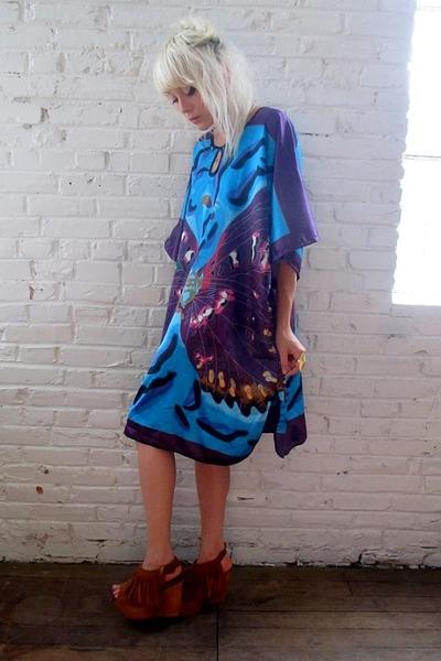 aquamarine butterfly some velvet vintage dress