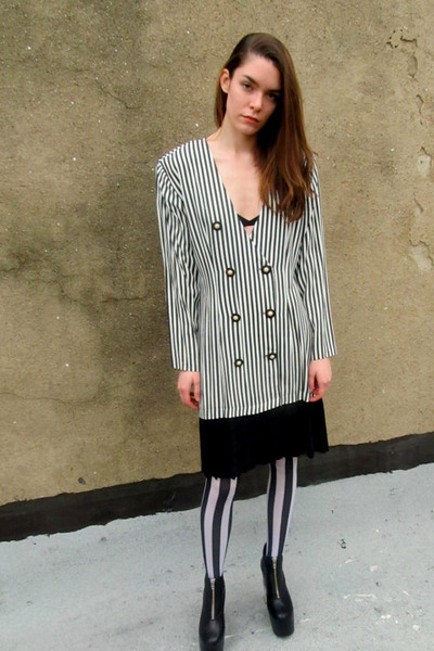 black striped some velvet vintage dress