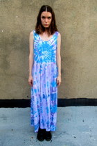 sky blue tie dye some velvet vintage dress