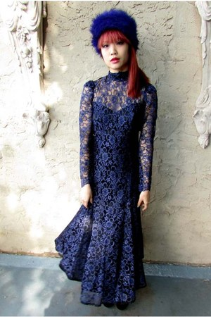 navy lace some velvet vintage dress