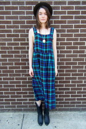 plaid some velvet vintage dress