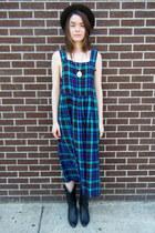 plaid some velvet vintage dress