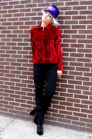 red velvet some velvet vintage jacket - black black armani pants