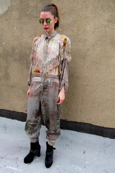 silver fringe some velvet vintage pants