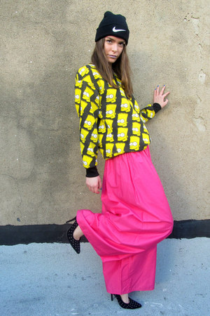 hot pink palazzo some velvet vintage pants