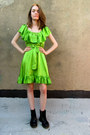 Chartreuse Silk Betsey Johnson Dresses