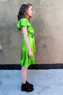 Chartreuse-silk-betsey-johnson-dress