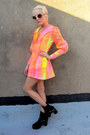 Hot-pink-neon-some-velvet-vintage-dress