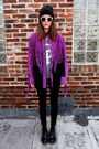 Purple-leather-bob-mackie-jacket
