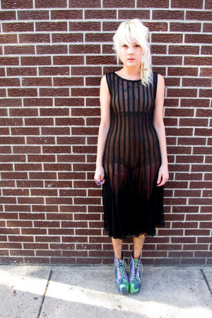 black sheer some velvet vintage dress - green Jeffrey Campbell shoes