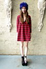 Ruby-red-plaid-some-velvet-vintage-dress