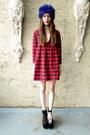 Ruby-red-plaid-some-velvet-vintage-dress