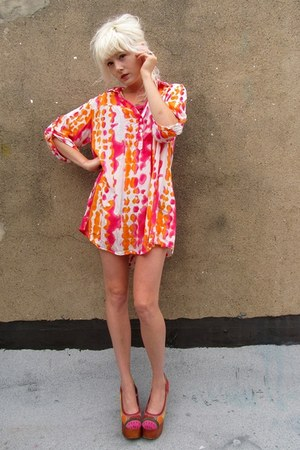 light orange tie dye some velvet vintage dress