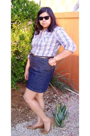 Old Navy blouse - blue Old Navy skirt - brown Old Navy belt - brown Old Navy sho