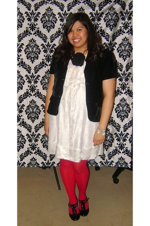 white BCBG dress - black Old Navy jacket - red Target tights - black flower pin