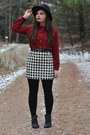 Black-h-m-boots-black-oasap-hat-black-thrifted-skirt