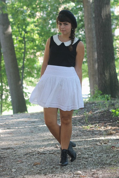 black H&M boots - white thrifted skirt - black Forever21 blouse