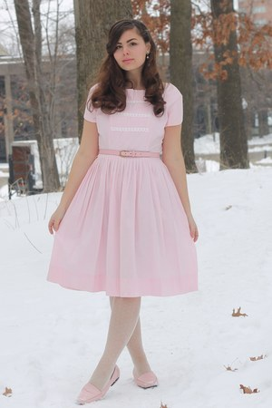 light pink vintage dress - ivory OASAP tights - light pink thrifted loafers