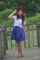 brick red thirfted hat - navy LuLus dress - ivory vintage shirt