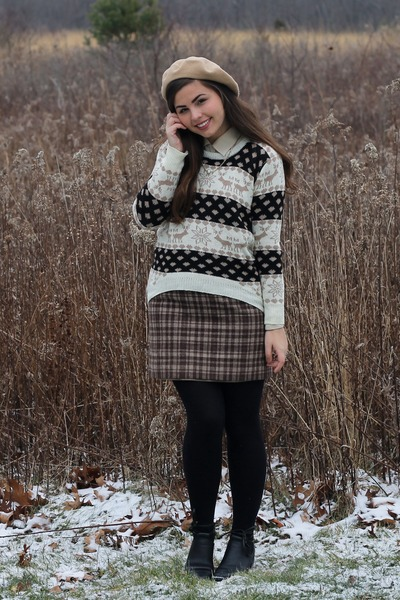 tan OASAP sweater - black thrifted boots - beige aa hat