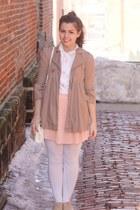 white vintage blouse - eggshell thrifted bag - tan Forever21 flats