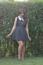 black Forever21 dress - black thrifted loafers - red Claires hair accessory