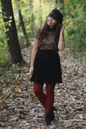 black H&M boots - brick red Target tights - army green Forever21 blouse