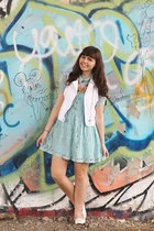 sky blue Forever21 dress - white Aeropostale vest