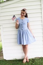 sky blue thrifted dress