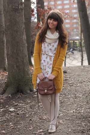 beige modcloth dress - mustard Forever21 cardigan