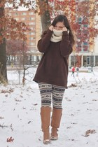 navy OASAP leggings - camel Old Navy boots - dark brown thrifted sweater