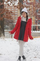 red Aeropostale coat - black thrifted boots - black Forever21 dress
