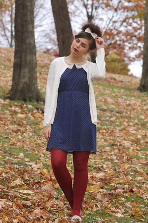 navy modcloth dress - brick red Target tights - eggshell pink and pepper loafers