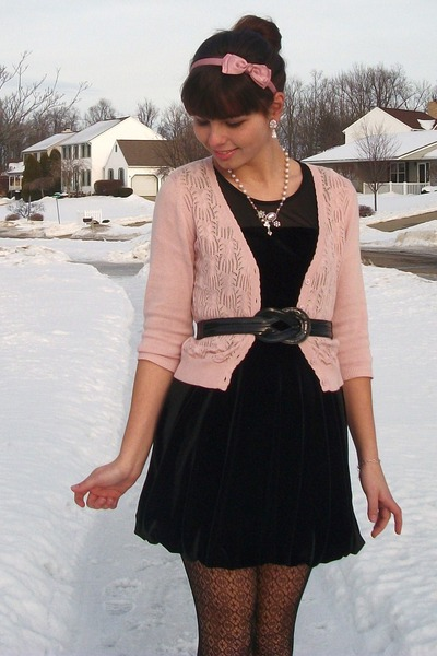 Pink Sweater with Black Dresses