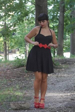 black thrifted dress - red OASAP belt